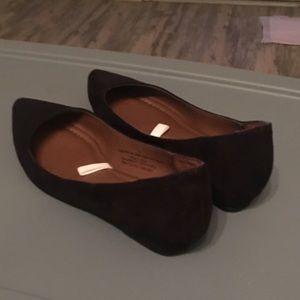 Merona suede black pointy toe flats